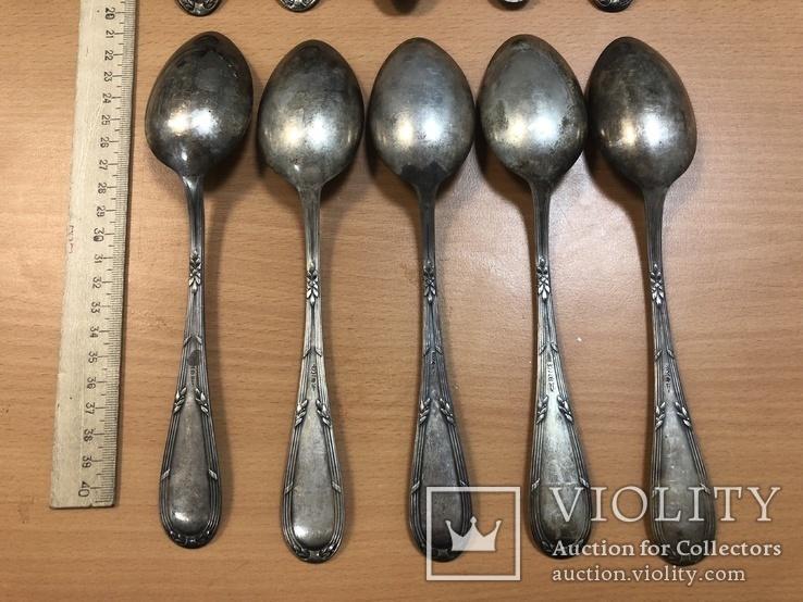 Набор серебряных столовых ложек 800 пробы - 10 шт. 602 грамм, фото №7