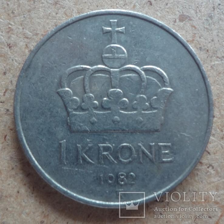 1 крона  1982  Норвегия  (П.12.29)~, фото №3