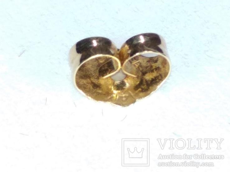 Миниатюрные золотые серьги-гвоздики с натуральными опалами, фото №11