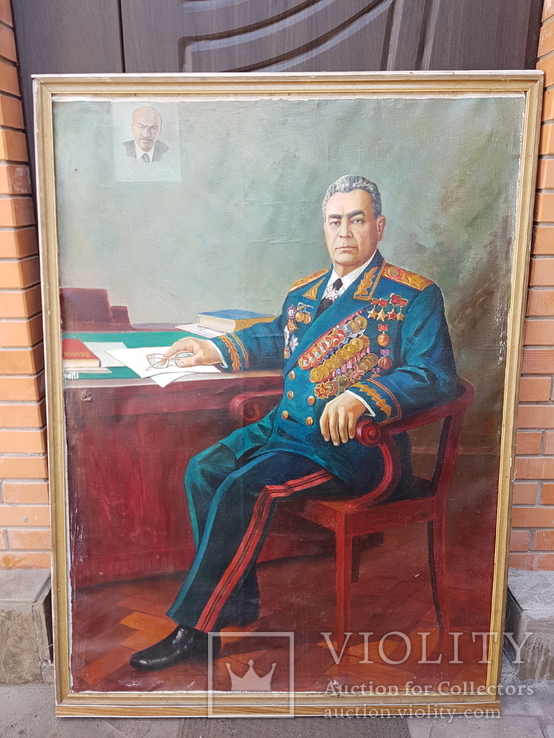 Картина соцреализм Брежнев в кабинете Редкая!!!, фото №2