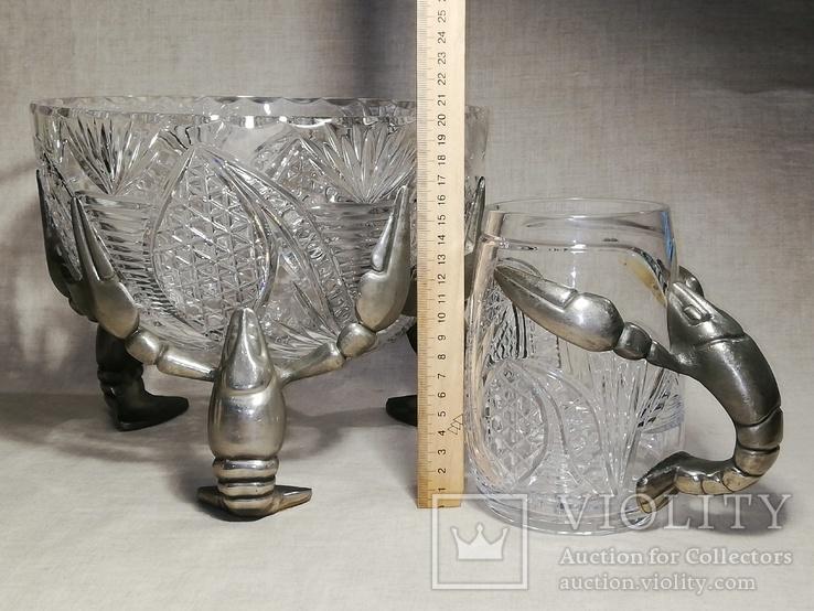 Пивной бокал - кружка с раком, и ваза хрусталь для раков, фото №12