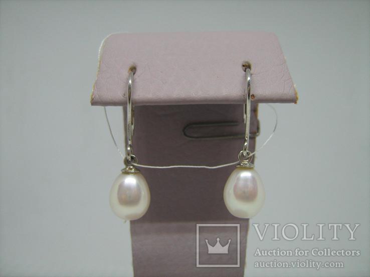 Новые Серебряные Серьги Сережки Белый Жемчуг Каплевидный Груша 925 проба v003, фото №3