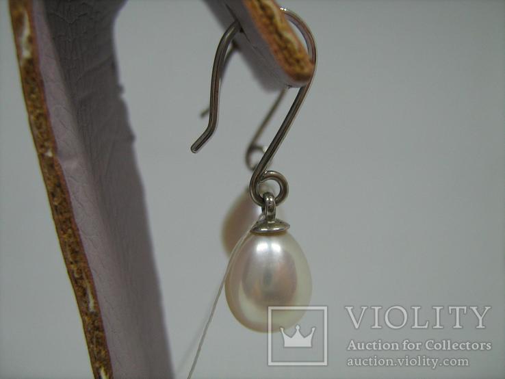 Новые Серебряные Серьги Сережки Белый Жемчуг Каплевидный Груша 925 проба v003, фото №4