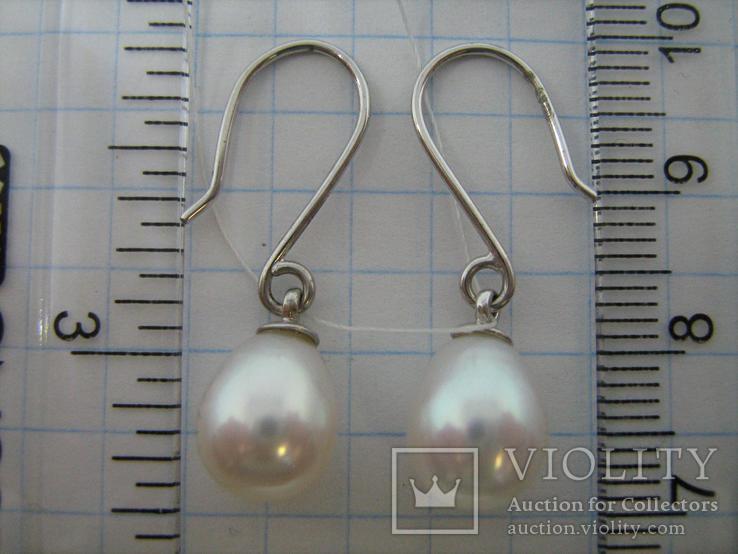 Новые Серебряные Серьги Сережки Белый Жемчуг Каплевидный Груша 925 проба v003, фото №5