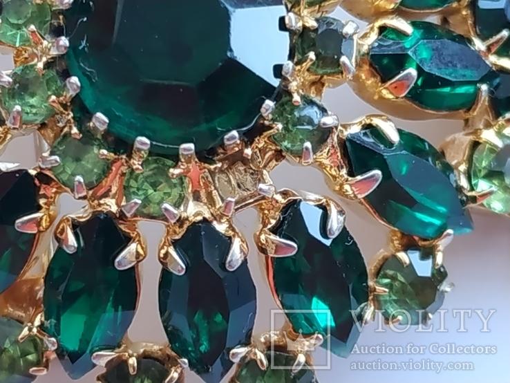 Брошь СССР Чехия зеленые камни подвески, фото №8