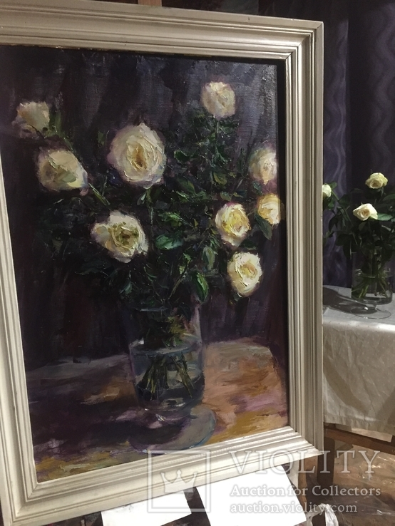 Свадебные розы масло холст 98/72 в раме 83/57 без