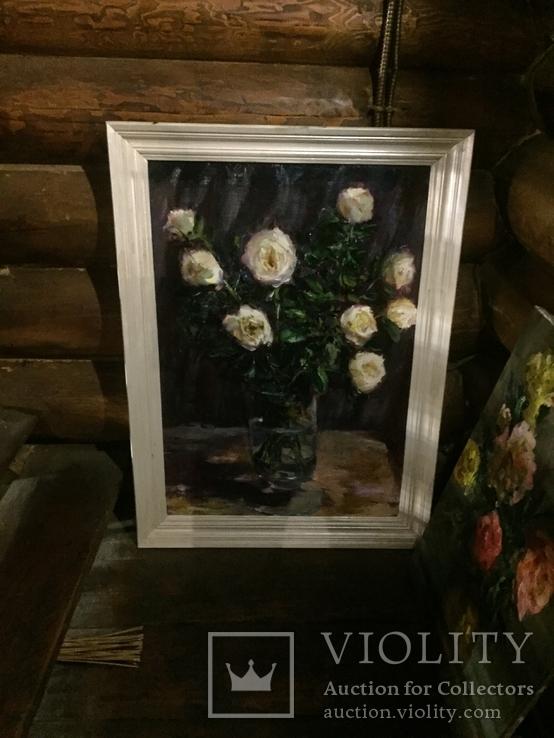 Свадебные розы масло холст 98/72 в раме 83/57 без, фото №3