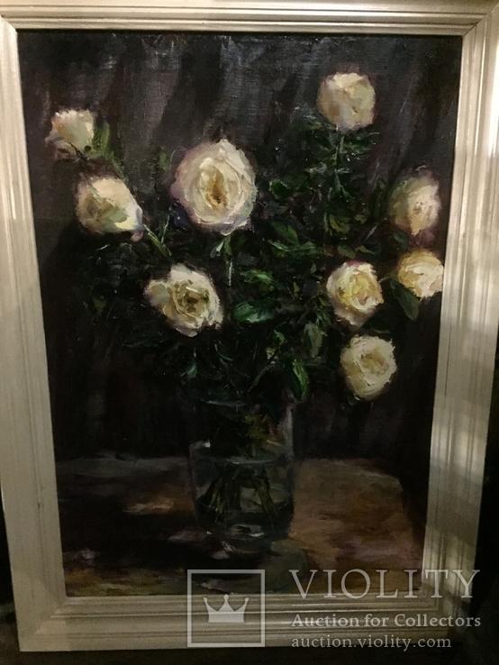 Свадебные розы масло холст 98/72 в раме 83/57 без, фото №4