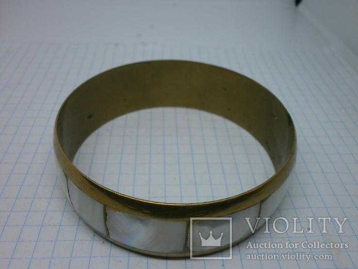 Винтажный латунный браслет с натуральными  перламутровыми вставками, фото №4