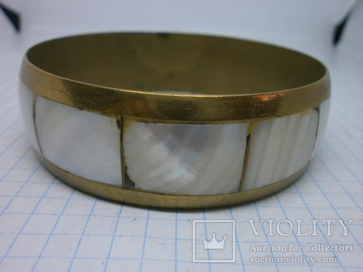 Винтажный латунный браслет с натуральными  перламутровыми вставками, фото №8