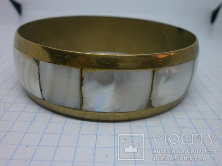 Винтажный латунный браслет с натуральными  перламутровыми вставками, фото №9