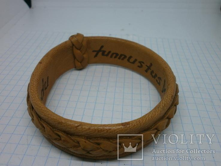 Кожаный браслет с надписями по внутренней стороне. Новый, фото №8