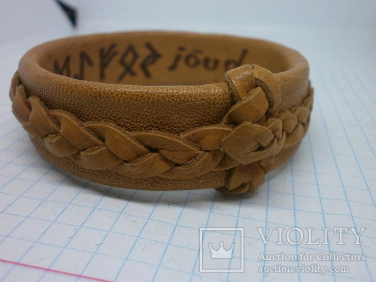Кожаный браслет с надписями по внутренней стороне. Новый, фото №9