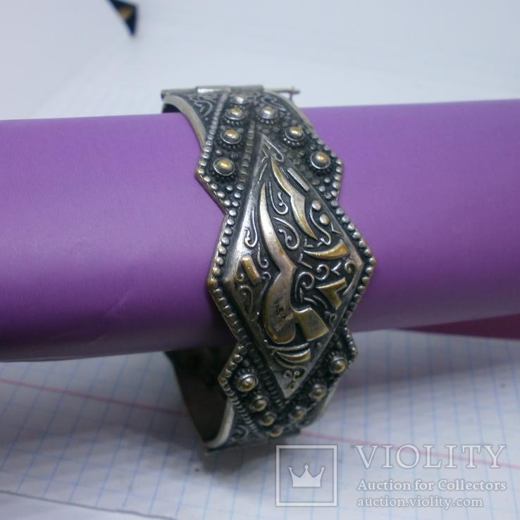 Восточный чеканный браслет с арабскими символами. Винтаж, фото №4