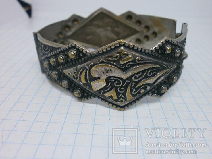 Восточный чеканный браслет с арабскими символами. Винтаж, фото №12