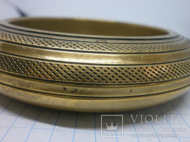 Полый латунный браслет. винтаж, фото №6