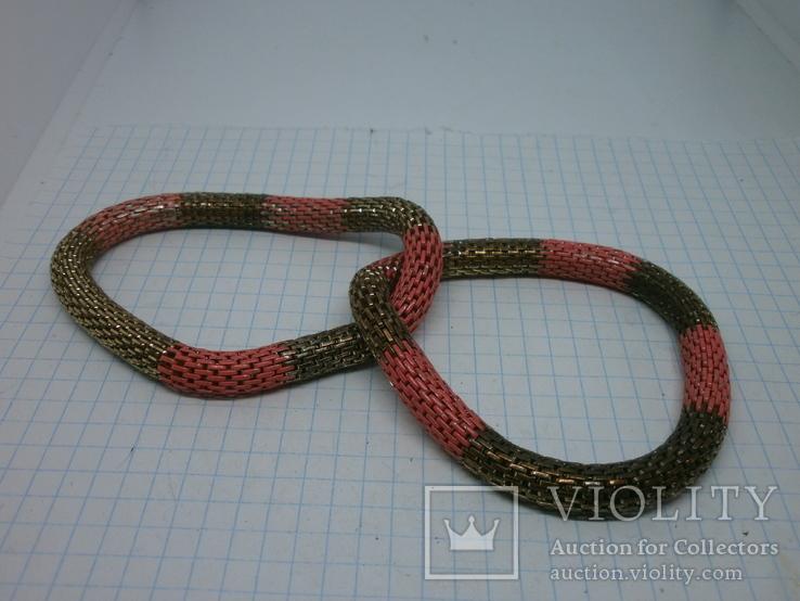 Браслет из двух переплетенных полых змеек. гибкий, фото №4