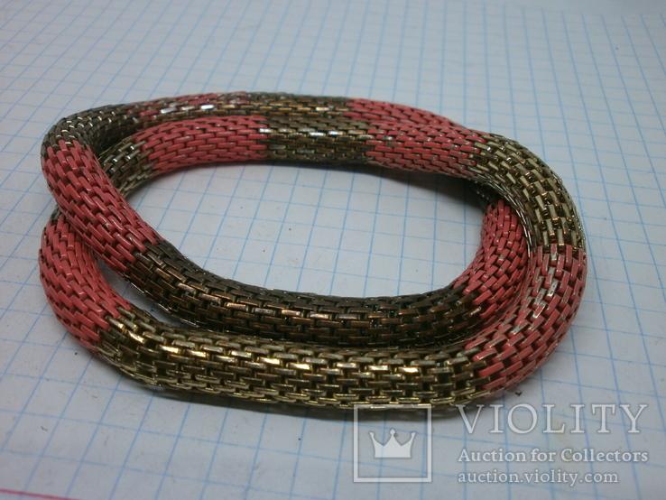 Браслет из двух переплетенных полых змеек. гибкий, фото №5