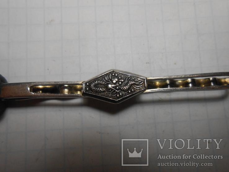 Зажим для галстука,для волос Серебро 875 со звездой Вес - 5,43 грамм, фото №5
