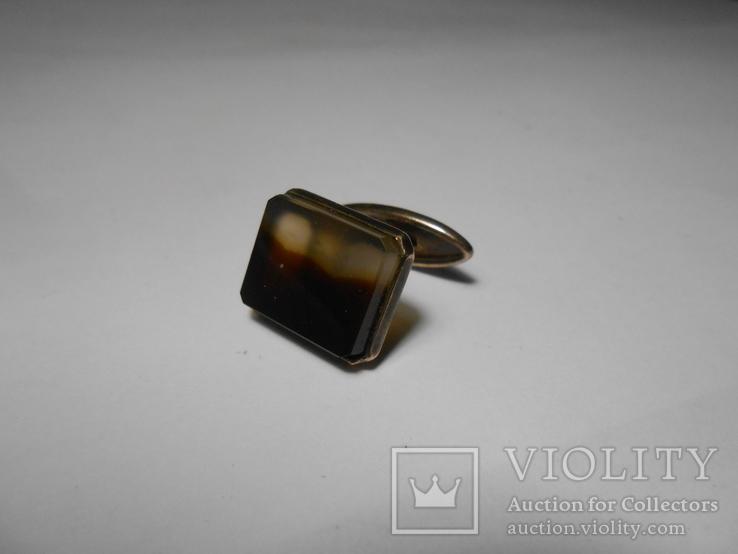 Запонка Серебро  875 со звездой Вес - 4,89 грамм, фото №2