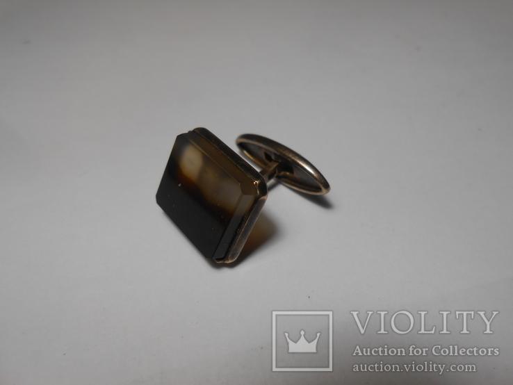 Запонка Серебро  875 со звездой Вес - 4,89 грамм, фото №3