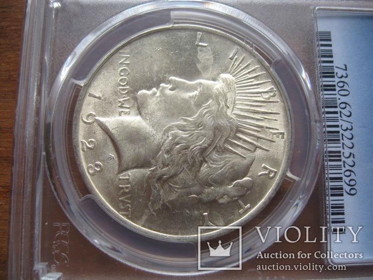 Серебряный Мирный доллар 1923 г. в слабе, фото №4