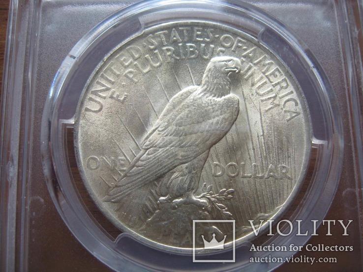 Серебряный Мирный доллар 1923 г. в слабе, фото №7