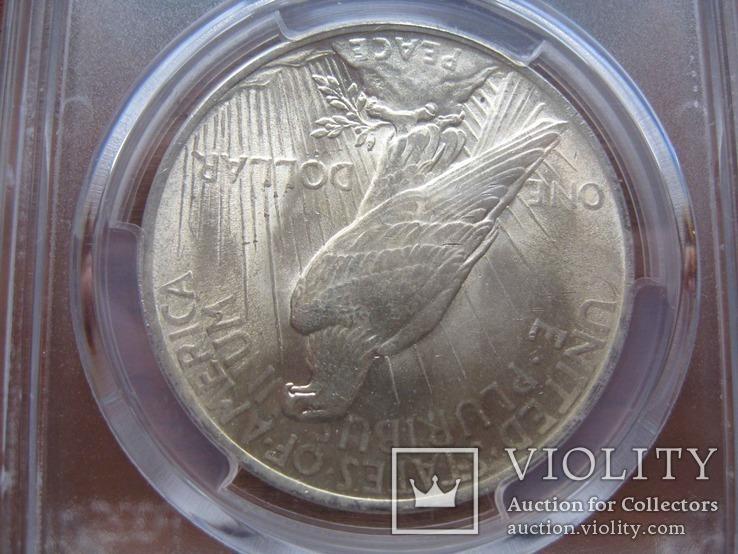 Серебряный Мирный доллар 1923 г. в слабе, фото №9