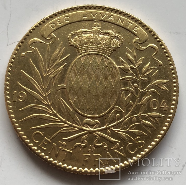 100 франков 1904 год Монако золото 32,22 грамма 900', фото №3