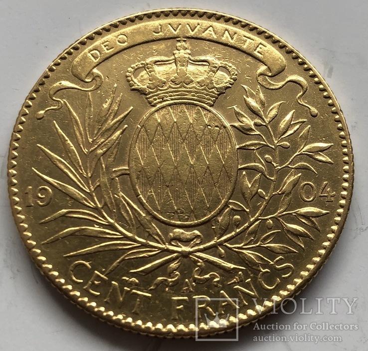 100 франков 1904 год Монако золото 32,22 грамма 900', фото №4