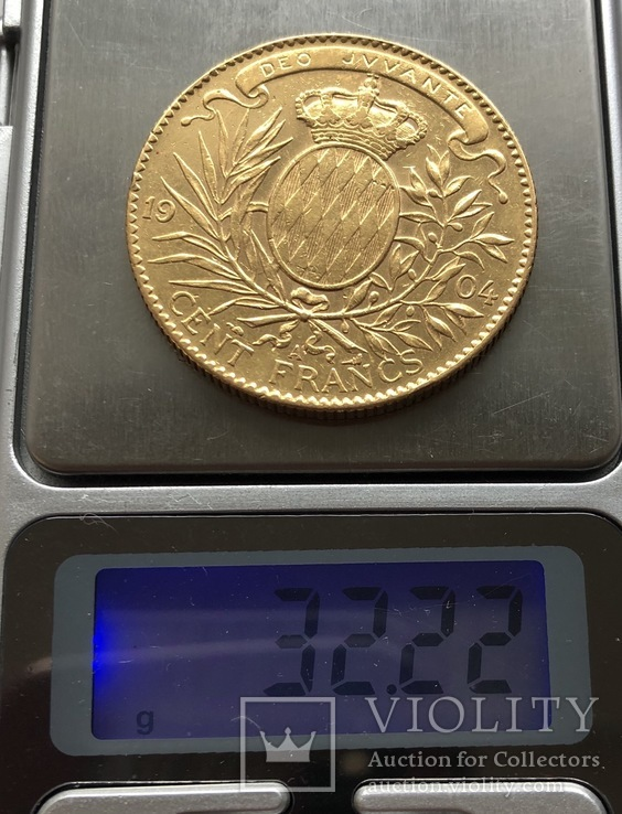 100 франков 1904 год Монако золото 32,22 грамма 900', фото №7