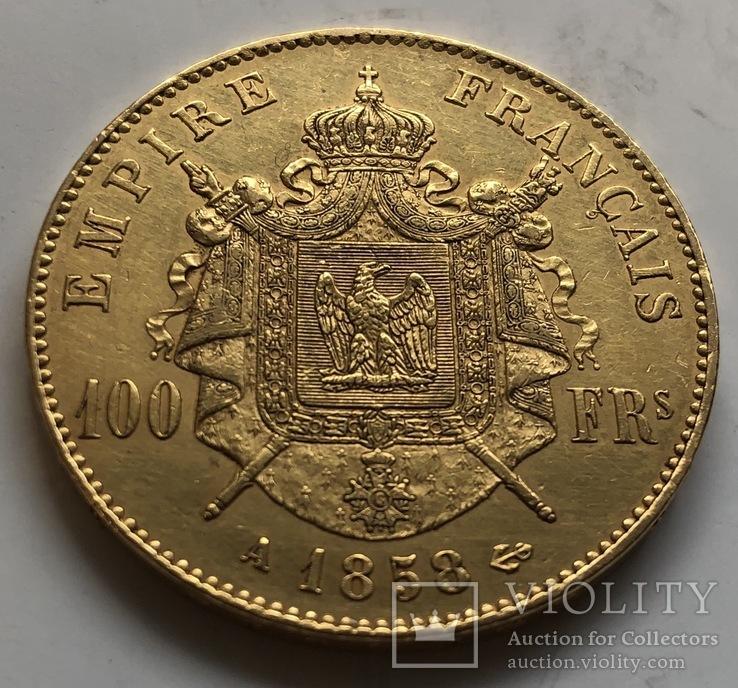 100 франков 1858 год Франция золото 32,23 грамма 900', фото №3