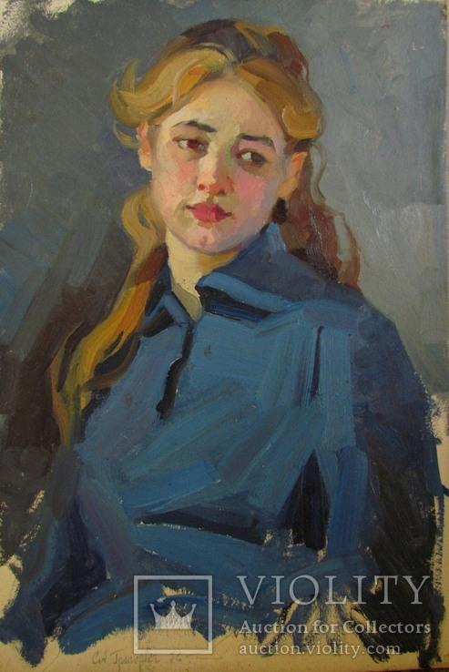 "С,А,Григорьев ""Марина"" 1976 г.картон.масло 49х33.5 см., фото №12"