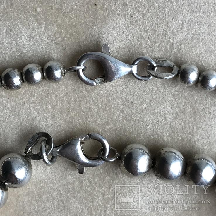 Комплект бусы и браслет из серебра ,Италия, фото №5