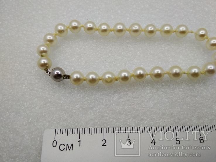Браслет искуственный жемчуг застежка серебро покрытие родий, фото №4
