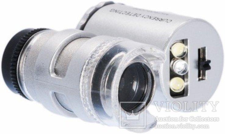 Карманный микроскоп с 60-кратным увеличением, с подсветкой, фото №2