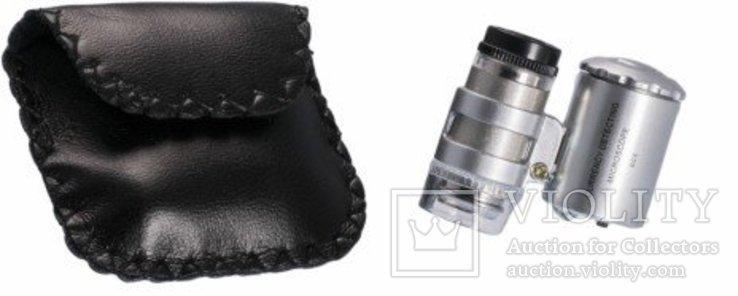 Карманный микроскоп с 60-кратным увеличением, с подсветкой, фото №3