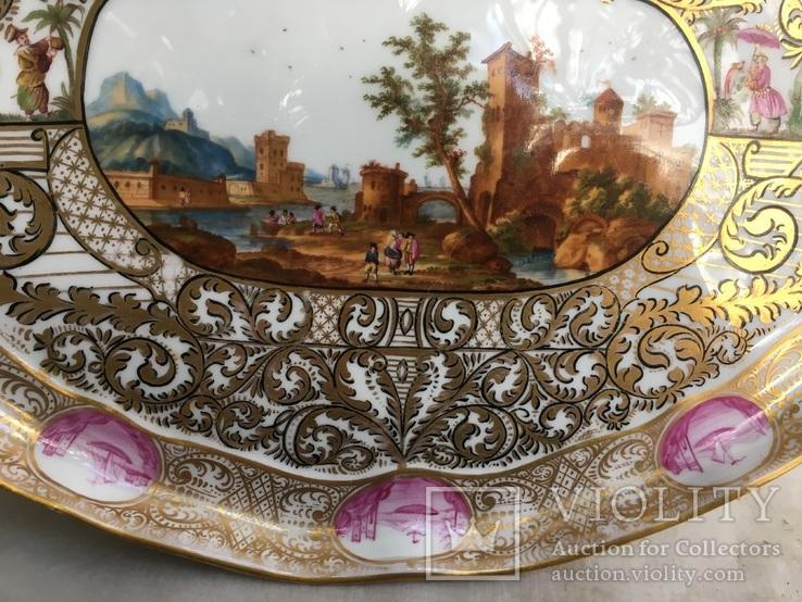 Блюдо.Мейсен.Ручная роспись с двумя китайцами, фото №8