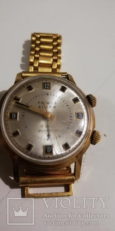 Часы-будильник PRIMUS ALARM, позолочен, экспорт, СССР... ау 20., фото №3