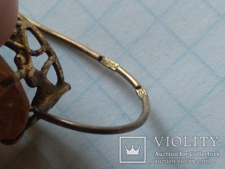 Набор серебро, кольцо и серьги, 875, фото №9