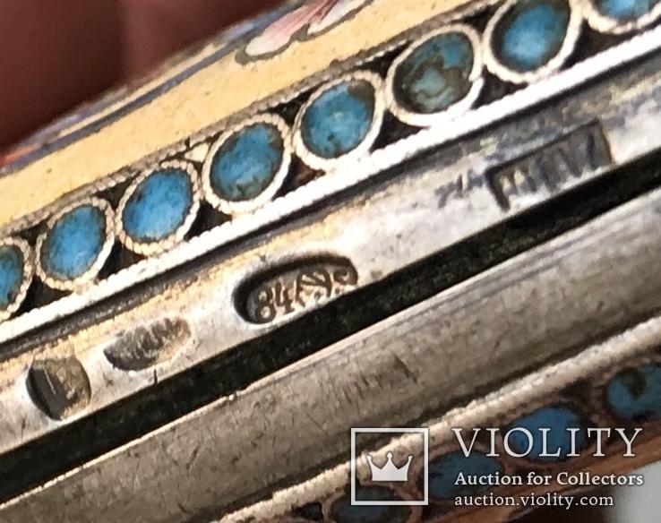 Портсигар серебро эмаль 84 проба жар птица, фото №10