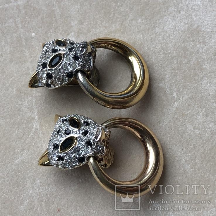 Серебряные клипсы, позолота, Италия, фото №8