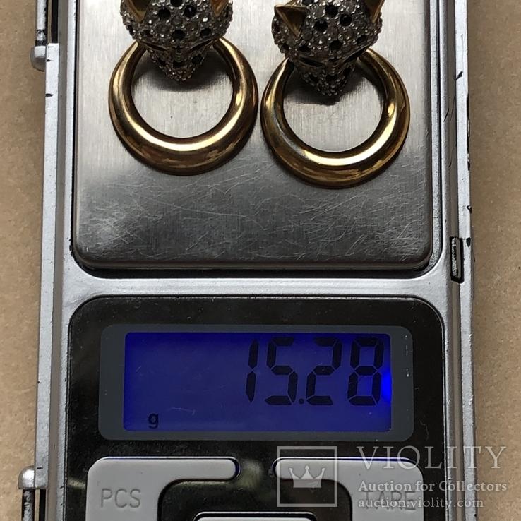 Серебряные клипсы, позолота, Италия, фото №11