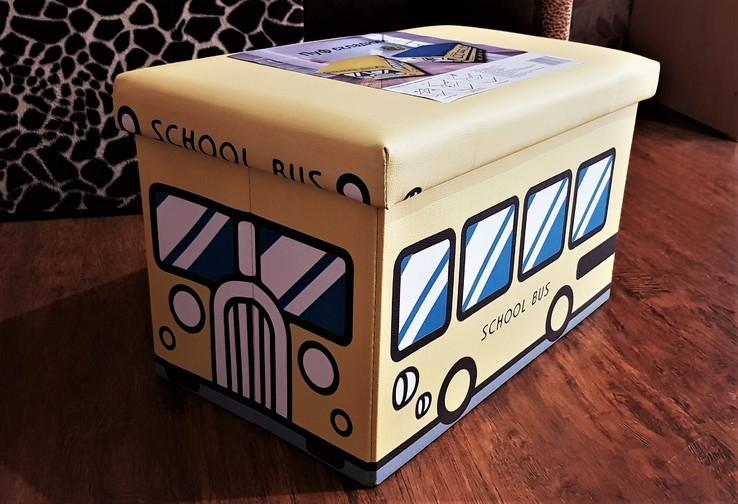 Пуфик-автобус для хранения игрушек и других мелочей