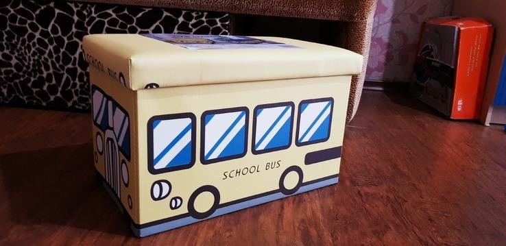 Пуфик-автобус для хранения игрушек и других мелочей, фото №4