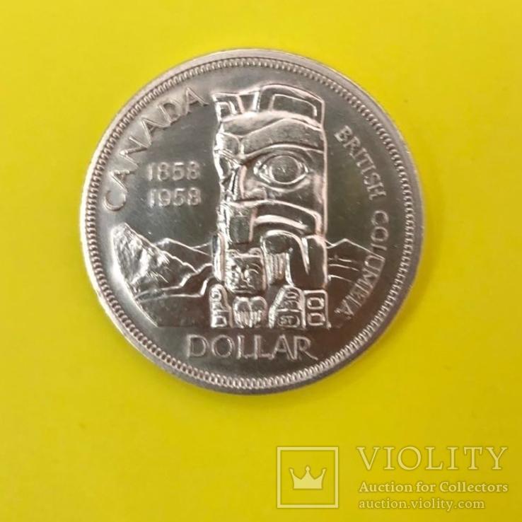 Канада 1 долар, 1958 100 років заснування Британської Колумбії, фото №3