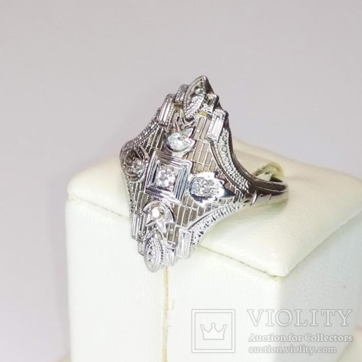Золотое кольцо периода art deco с бриллиантами, фото №3