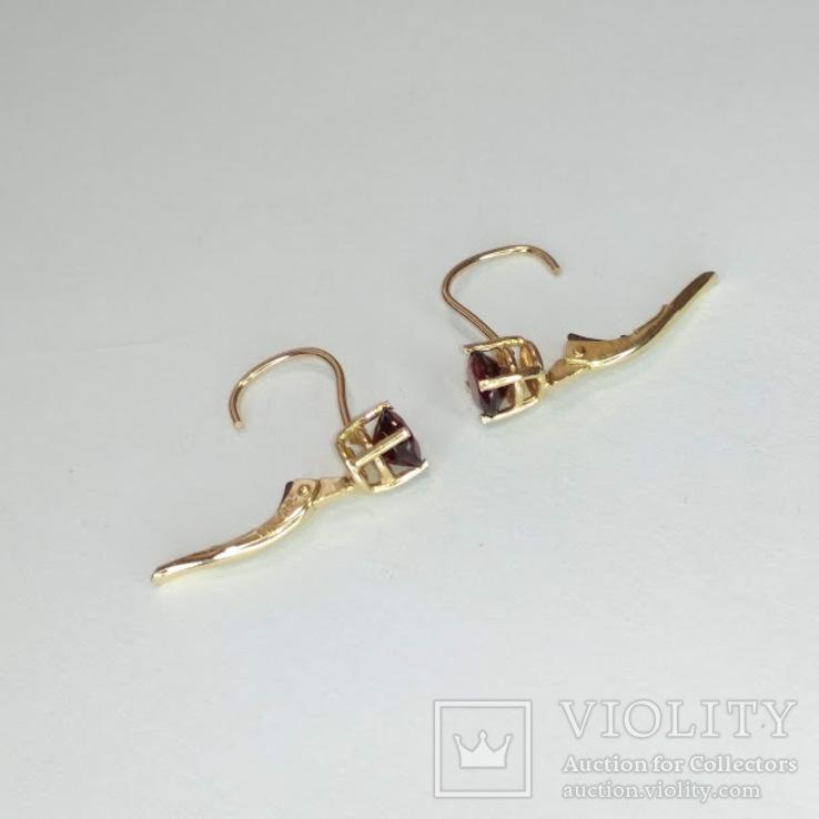 Золотые серьги с натуральными гранатами, фото №4
