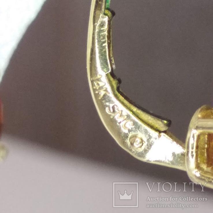 Золотые серьги с натуральными гранатами, фото №6