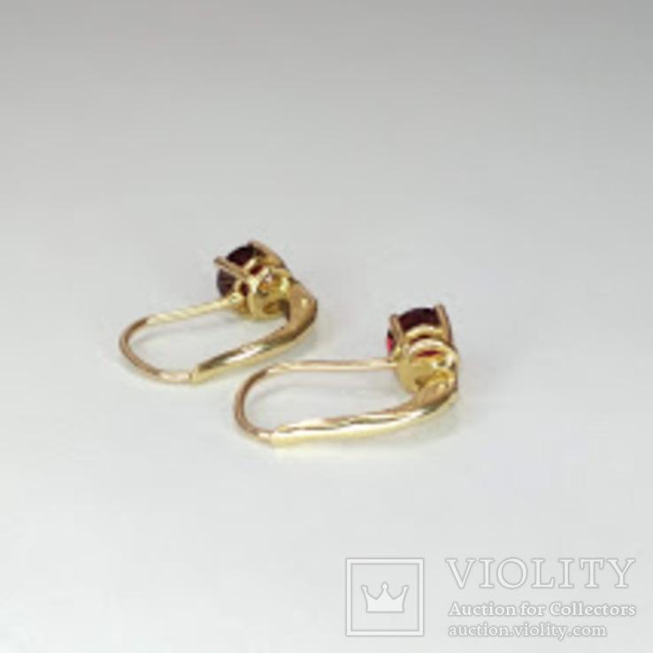 Золотые серьги с натуральными гранатами, фото №7